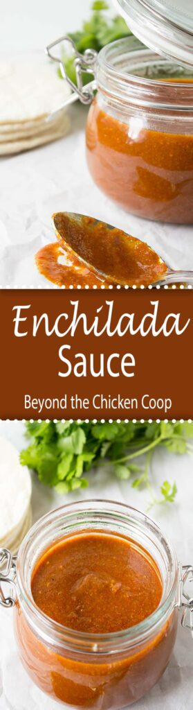 Homemade Enchilada Sauce made with ground chili powder.