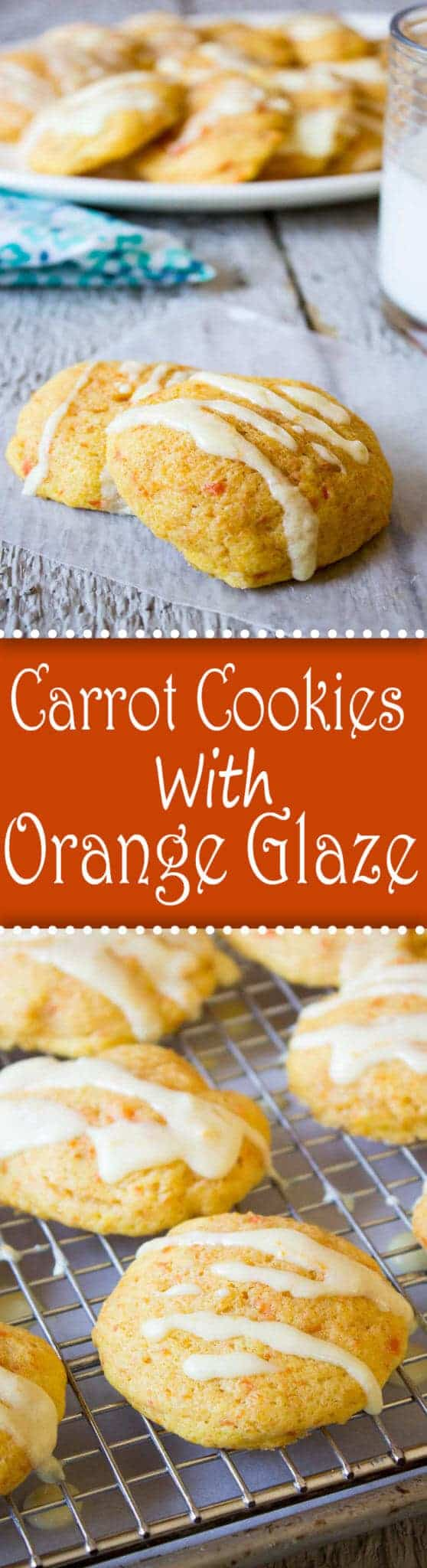 Carrot Cookies topped with a light orange glaze. These cookies are sure to become a family favorite. #cookies #baking #holidays