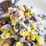 Black bean and corn salad with a jalpeno lime dressing. beyondthechickencoop.com