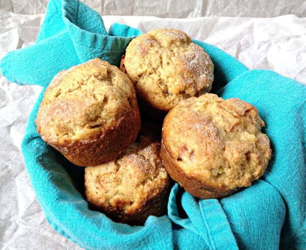 Rhubarb Muffins in a basket.