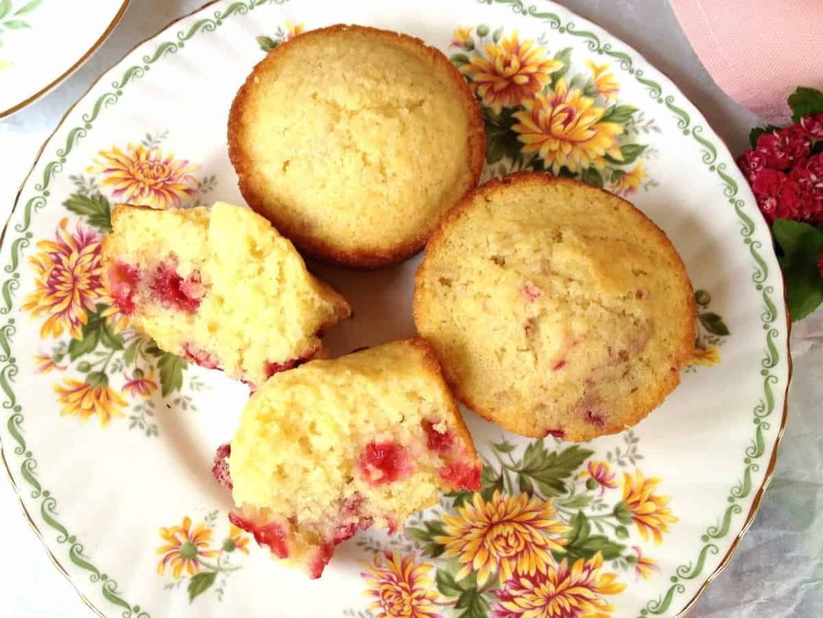 Raspberry Lemon Muffin served on a small plate.