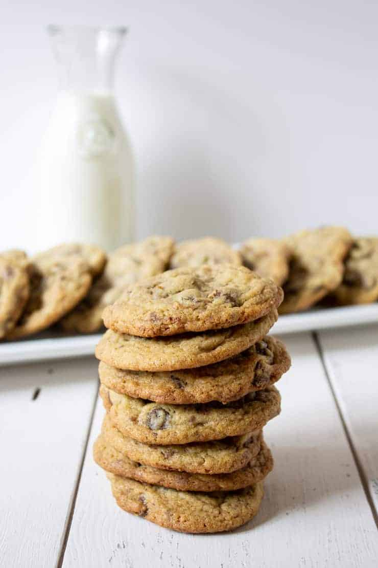 A delicious stack of Toffee Chocolate Chip Cookies