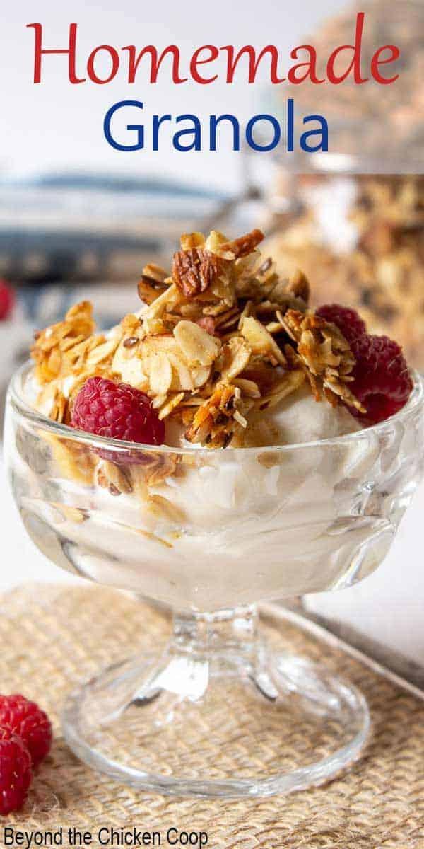 Yogurt topped with crunchy granola and fresh raspberries.