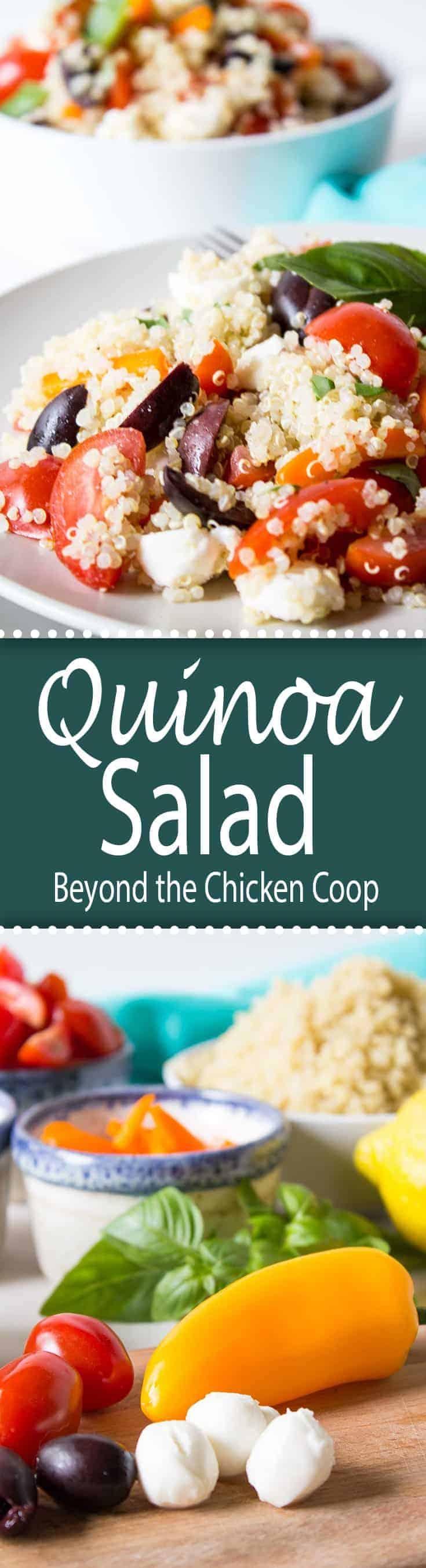 Quinoa salad with fresh veggies, mozzarella cheese, kalamata olives and lemon juice.
