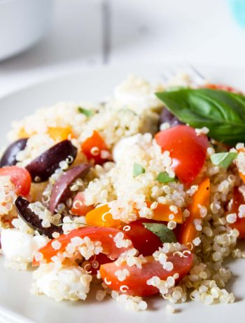 Quinoa, bell peppers, tomatoes and mozzarella make up this delicious Quinoa Salad.