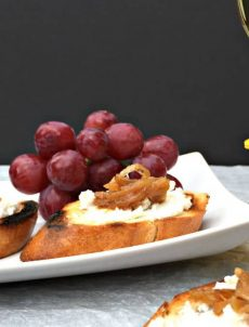 Crostini with Goat Cheese and Caramelized Onions.