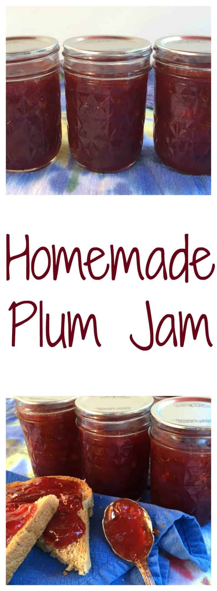Plum jam made with just two ingredients: plums and sugar