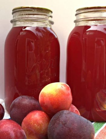 Glass jars filled with bright red plum juice.