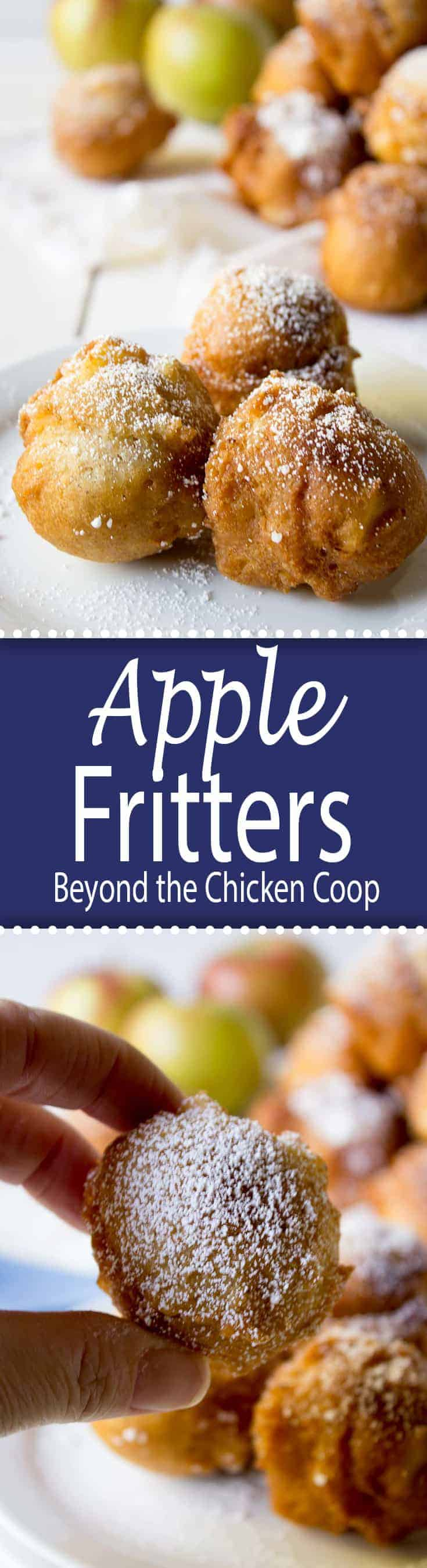 Homemade apple fritters just bursting with bits of apples.