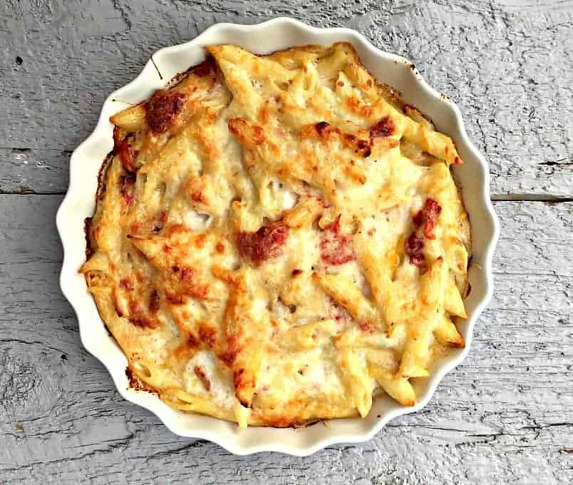 Baked pasta with browned cheese on top.