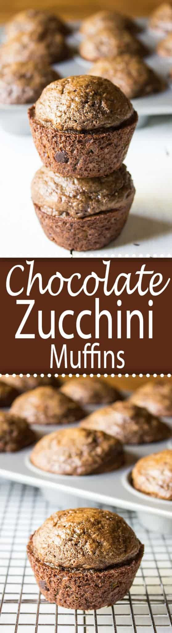 Chocolate Zucchini Muffins are moist and delicious. These muffins are studded with chocolate chips! #muffin #zucchinimuffin