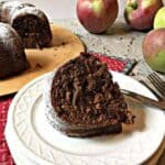 Chocolate cake baked with fresh apples.