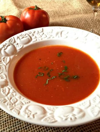 Slow cooked tomato soup made with home grown tomatoes.