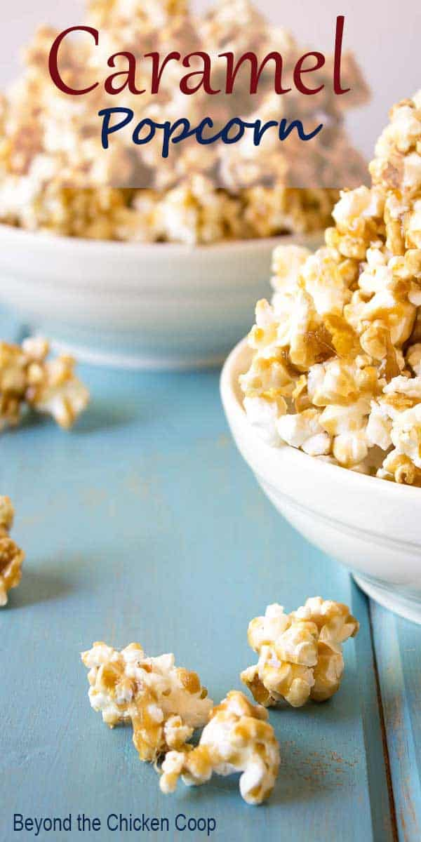 Homemade caramel popcorn served in a white bowl.