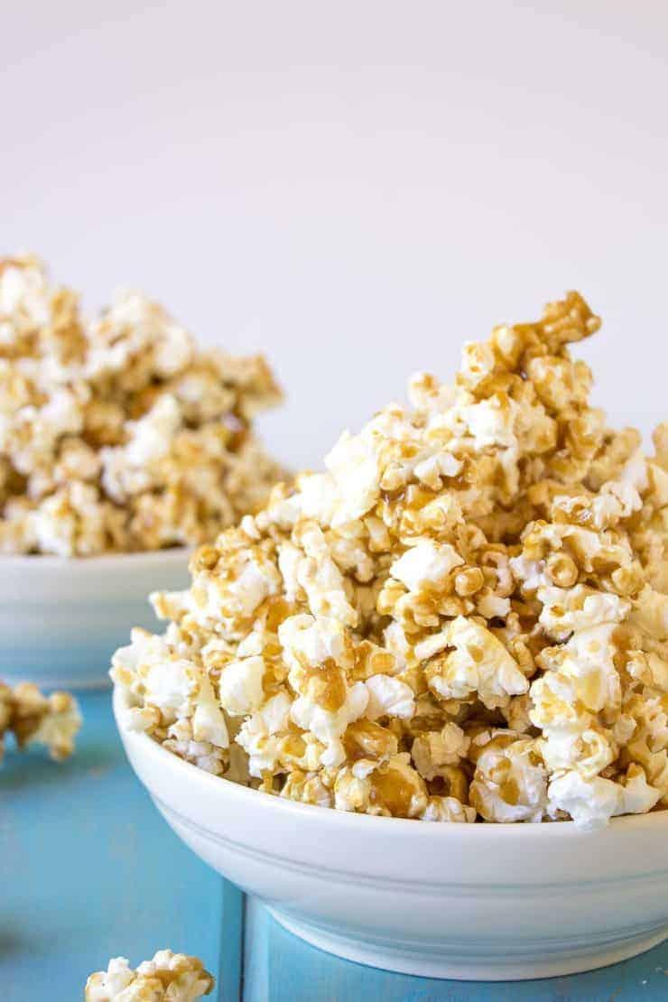 Caramel Popcorn piled high in a bowl.