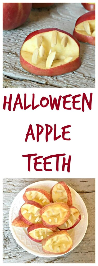 Healthy Halloween treat. Apples and Almonds formed into scary teeth.