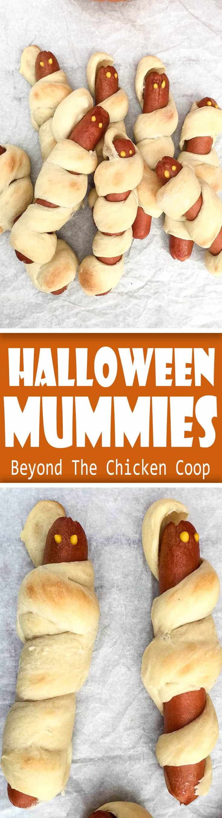 Halloween Hot Dog Mummies! Delightfully frightening treat made for kids of all ages! #mummydogs #Halloween #Mummyhotdogs #hotdogmummies #mummies