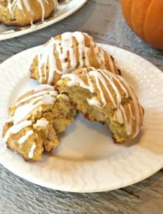 Pumpkin Scones on a white plate.
