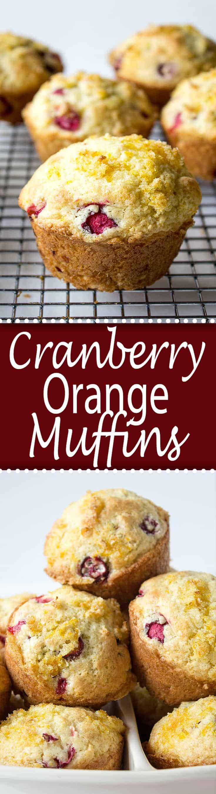 Cranberry Orange Muffins are bursting with cranberries and have an orange sugar topping!