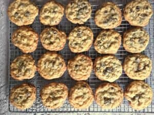 Rows of chocolate chip cookies on a baking rack.