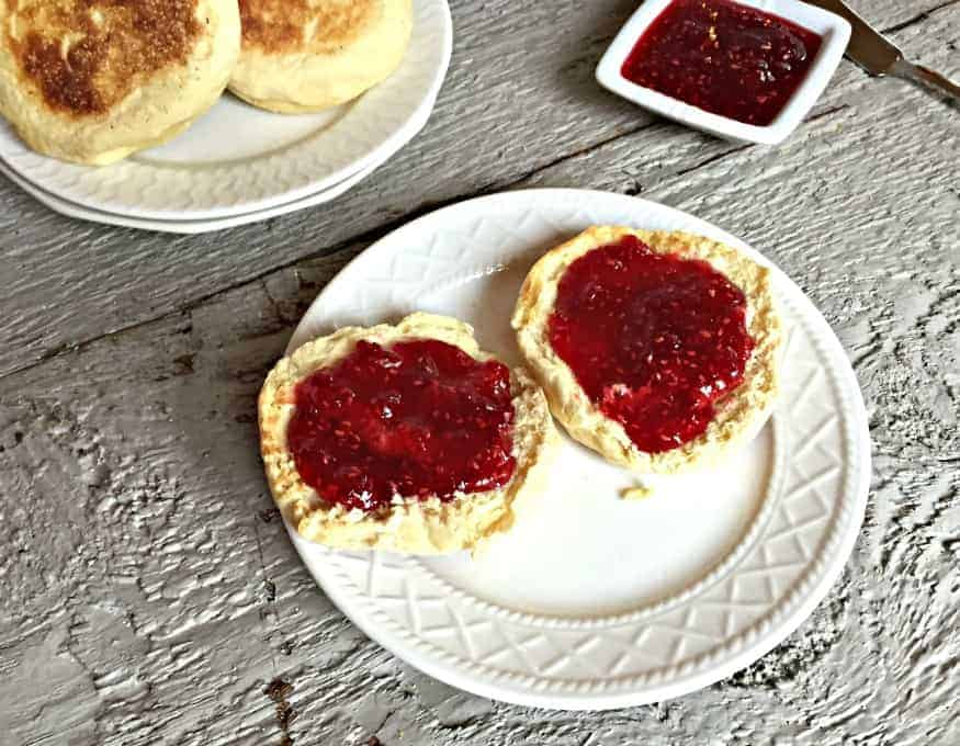 Homemade raspberry jam on homemade English Muffins!