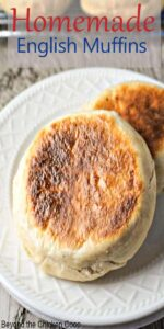 Two English Muffins on a plate.
