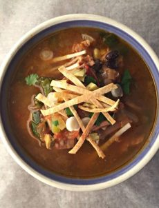 Perfect way to use up left over turkey: turkey tortilla soup.