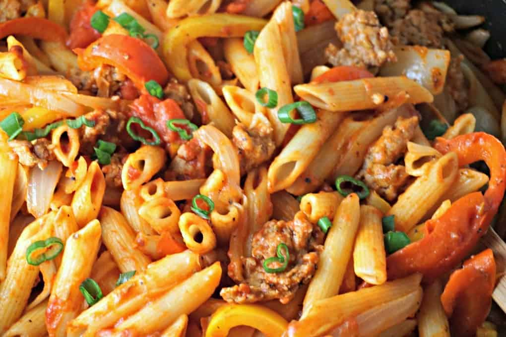 One Pot pasta with sausage, onions and peppers.