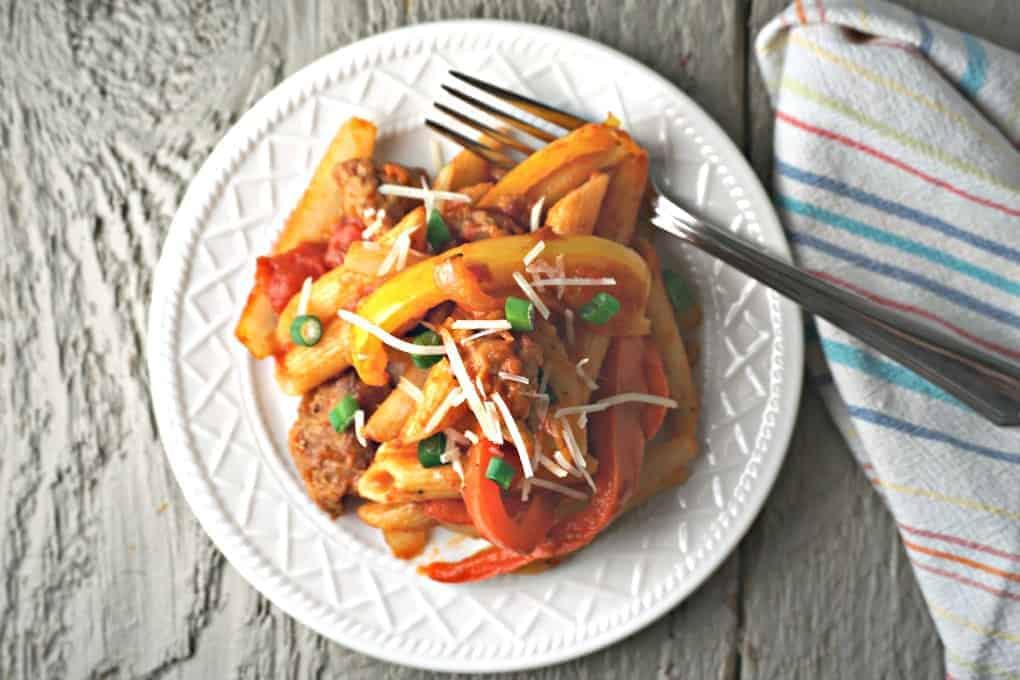 On Pot Pasta with sausage, peppers, and onions