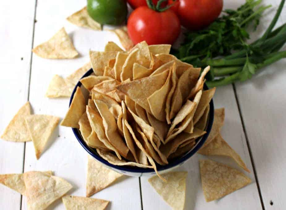 Baked Corn Chips in a bowl