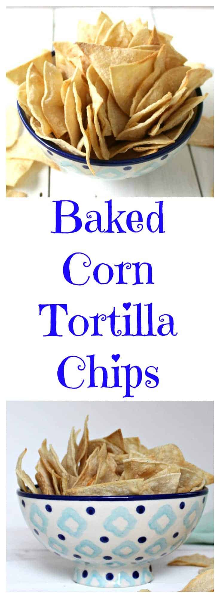 Make Baked Corn Tortilla Chips right in your own kitchen. These delicious crunchy chips are perfect for dipping or eating by themselves. #chips #cornchips #healthy #healthysnack #gameday