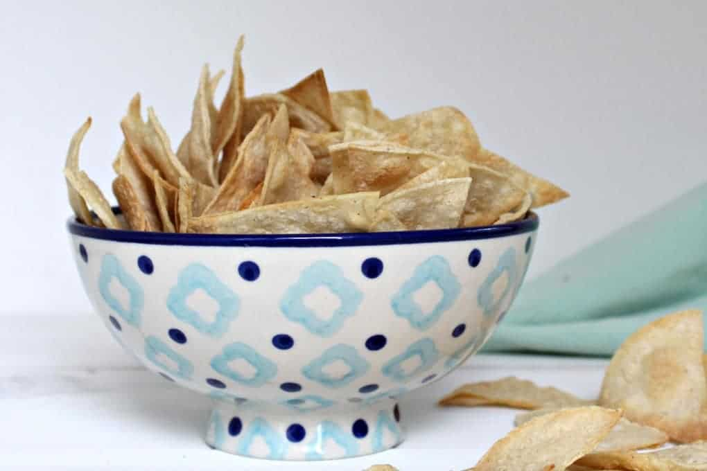 Bowl of Baked Corn Chips