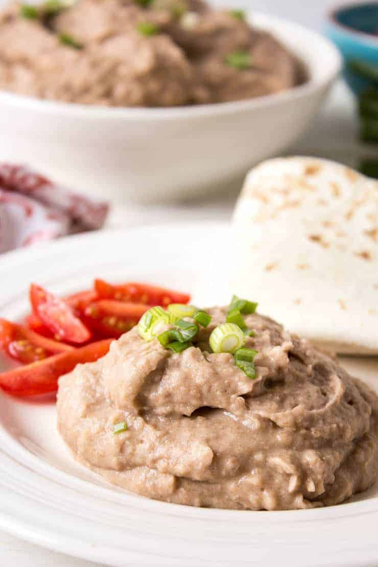 Refried beans made in the crock pot.