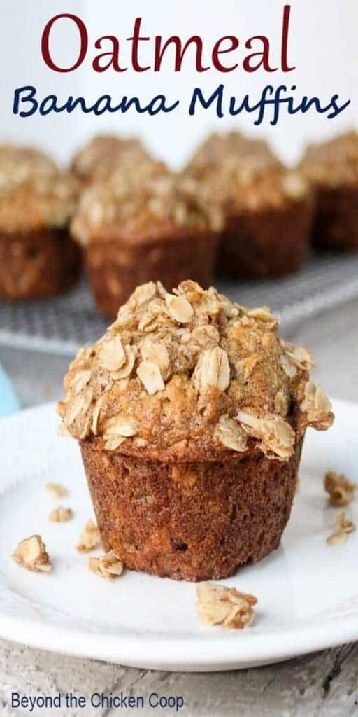 Oatmeal banana muffin with an oatmeal crumb topping.