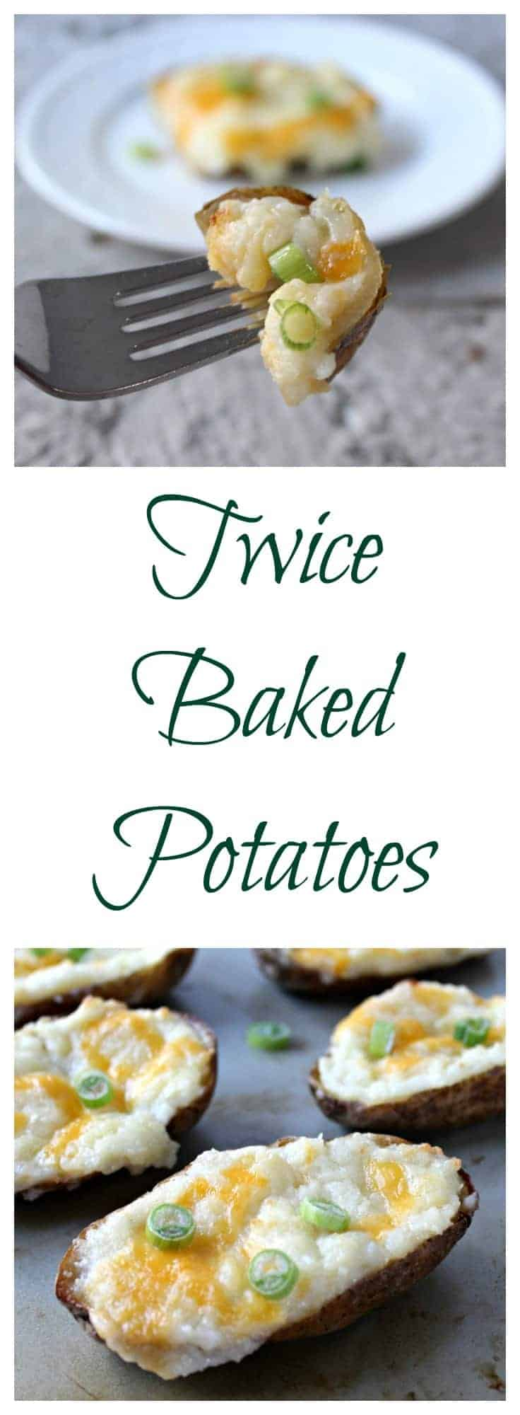 Twice baked potatoes filled with a cheesy filling.