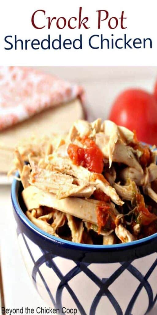 Shredded Mexican Chicken made in a crock pot.