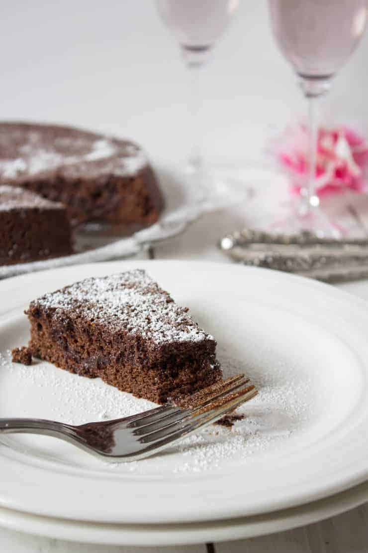A delicious slice of Flourless Chocolate Cake.