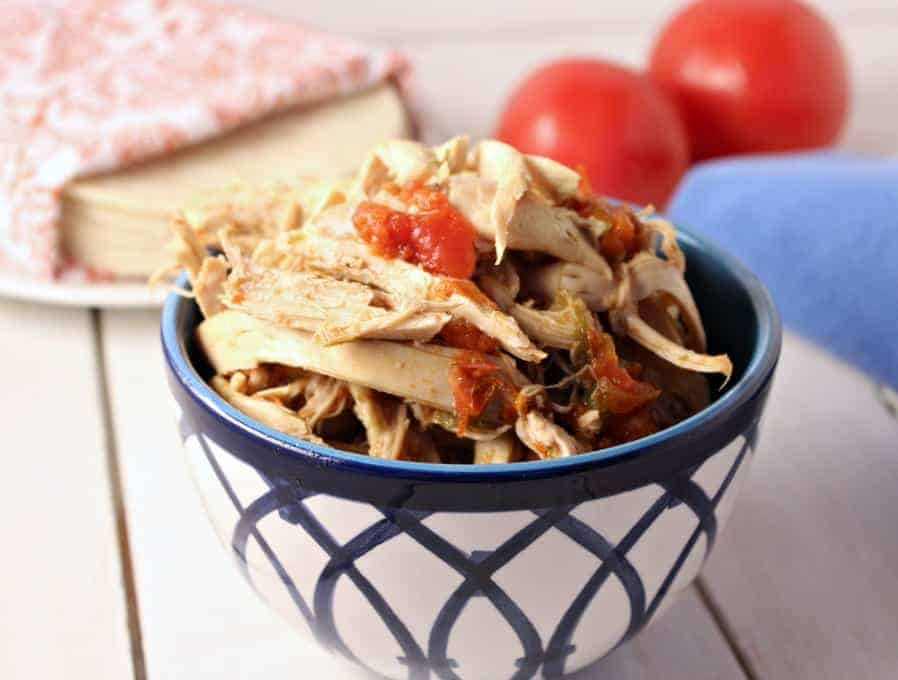 Shredded Mexican Chicken made in the crock pot.