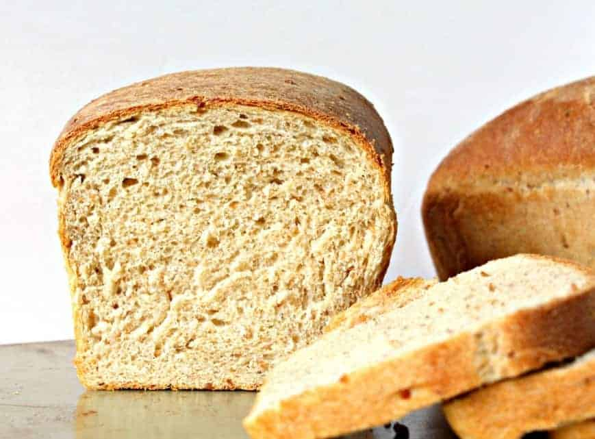 Cracked Wheat Bread cut into slices.