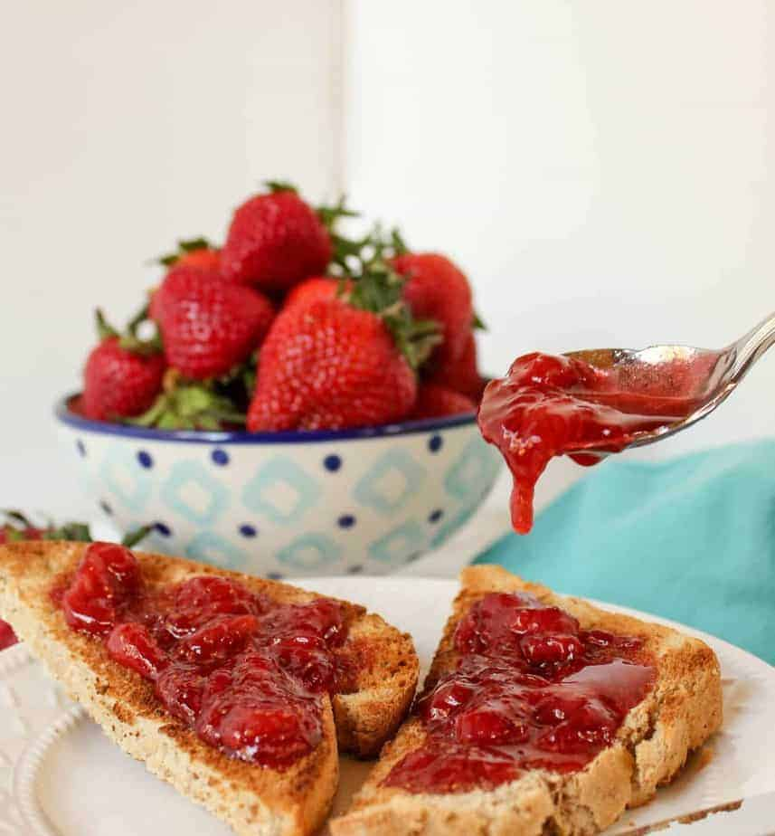Strawberry Jam served on toast.