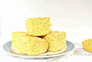 A plate with squares of cornbread.