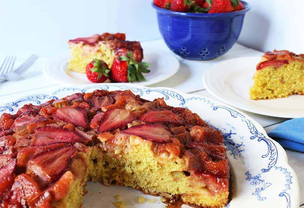 Strawberry Rhubarb Upside Down Cake. Spring fruits at their finest. Beyond the Chicken Coop