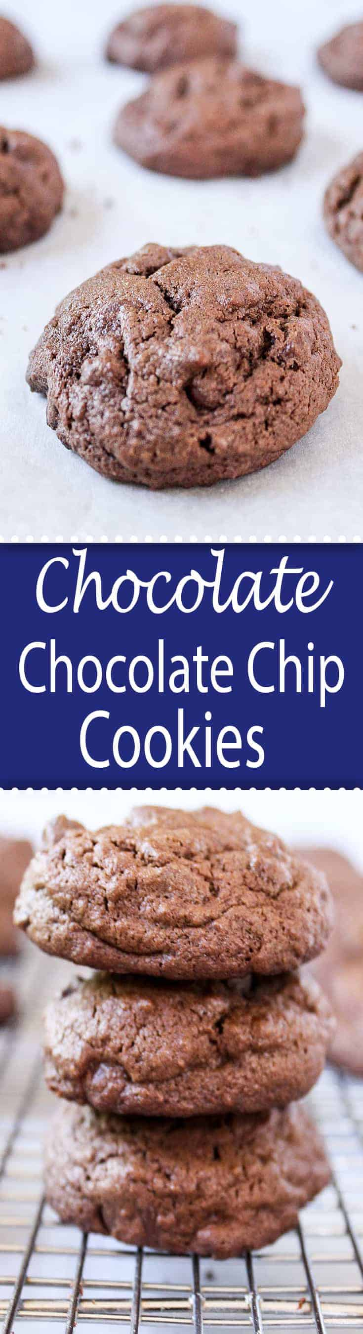 Chocolate Chocolate Chip Cookies are a traditional chocolate chip cookie with chocolate added to the batter. Double the chocolate! #cookies #chocolatechip