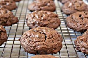 Chocolate cookies lined up on a baking rack.