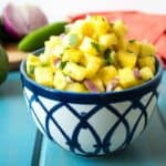 Pineapple Salsa in a blue and white bowl.