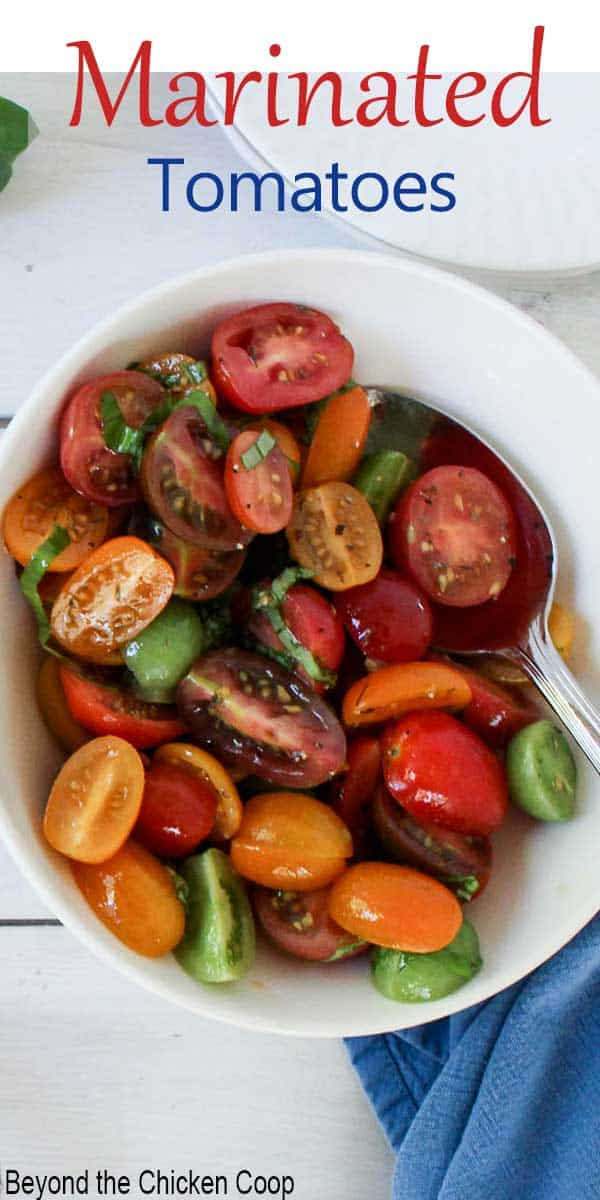Cut tomatoes and herbs in a bowl.