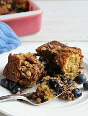 Blueberry coffee cake with a pecan crumble topping.