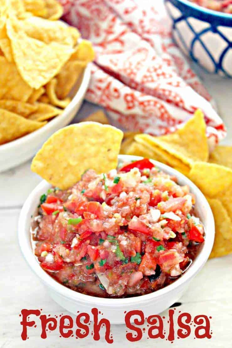 Fresh homemade salsa made with charred tomatoes. Full of flavor and so delicious! ~ Beyond the Chicken Coop