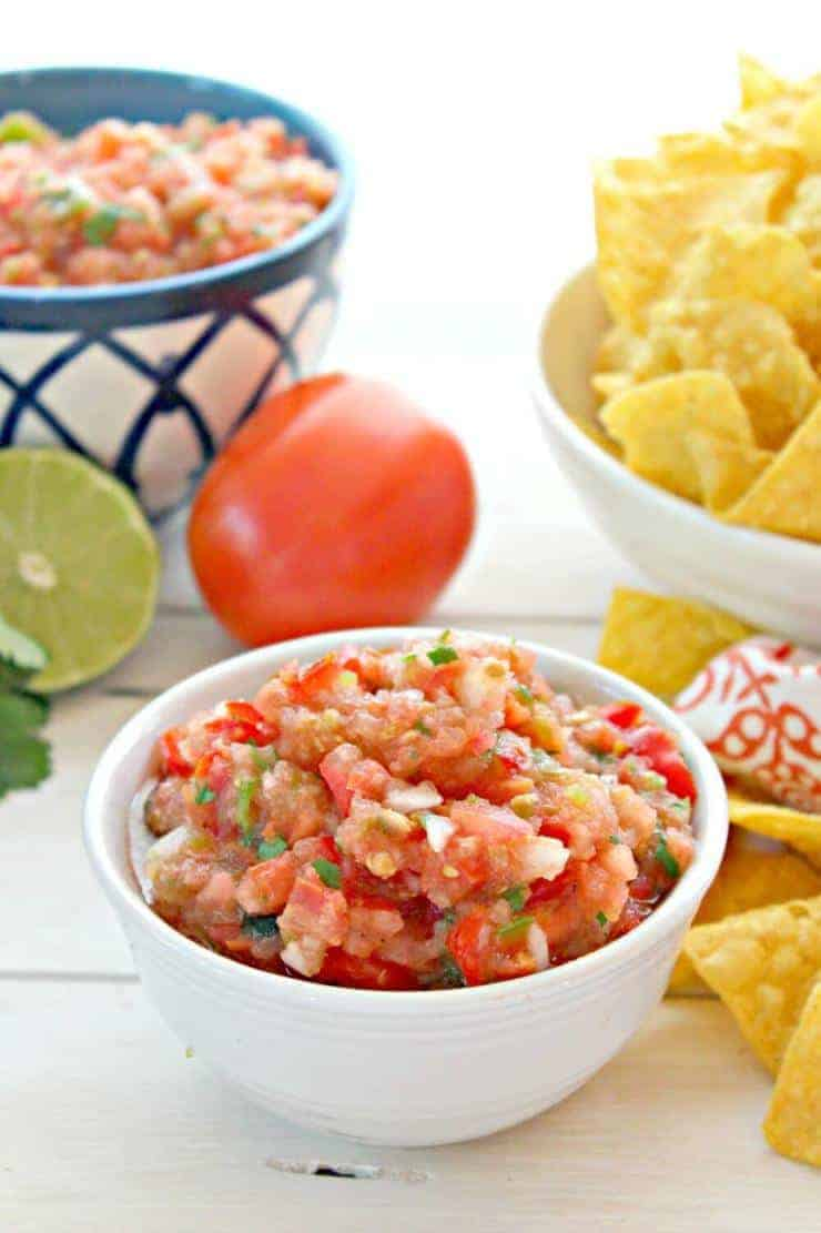 Fresh homemade salsa made with charred tomatoes. Full of flavor and so delicious!