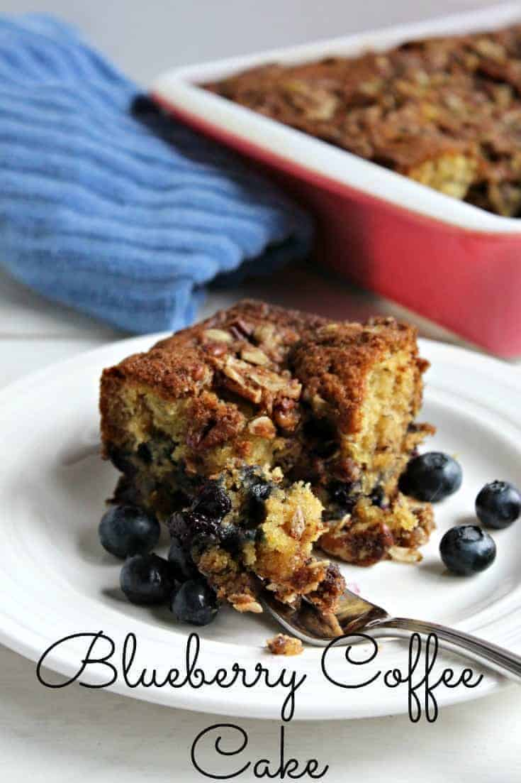 Blueberry Banana Coffee Cake with Pecan Crumble Topping. Perfect for breakfast, snacking or a dessert. ~Beyond the Chicken Coop
